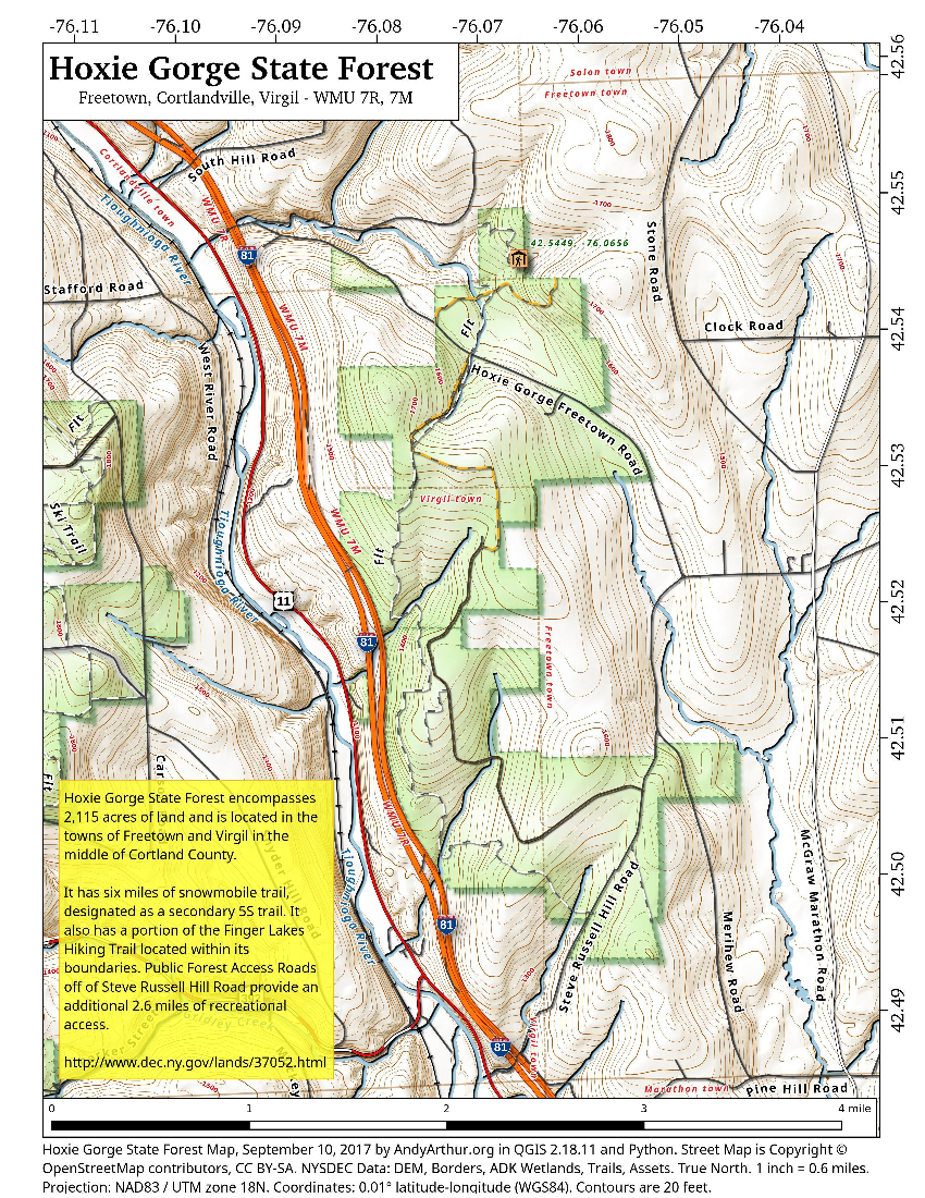 Map: Hoxie Gorge State Forest