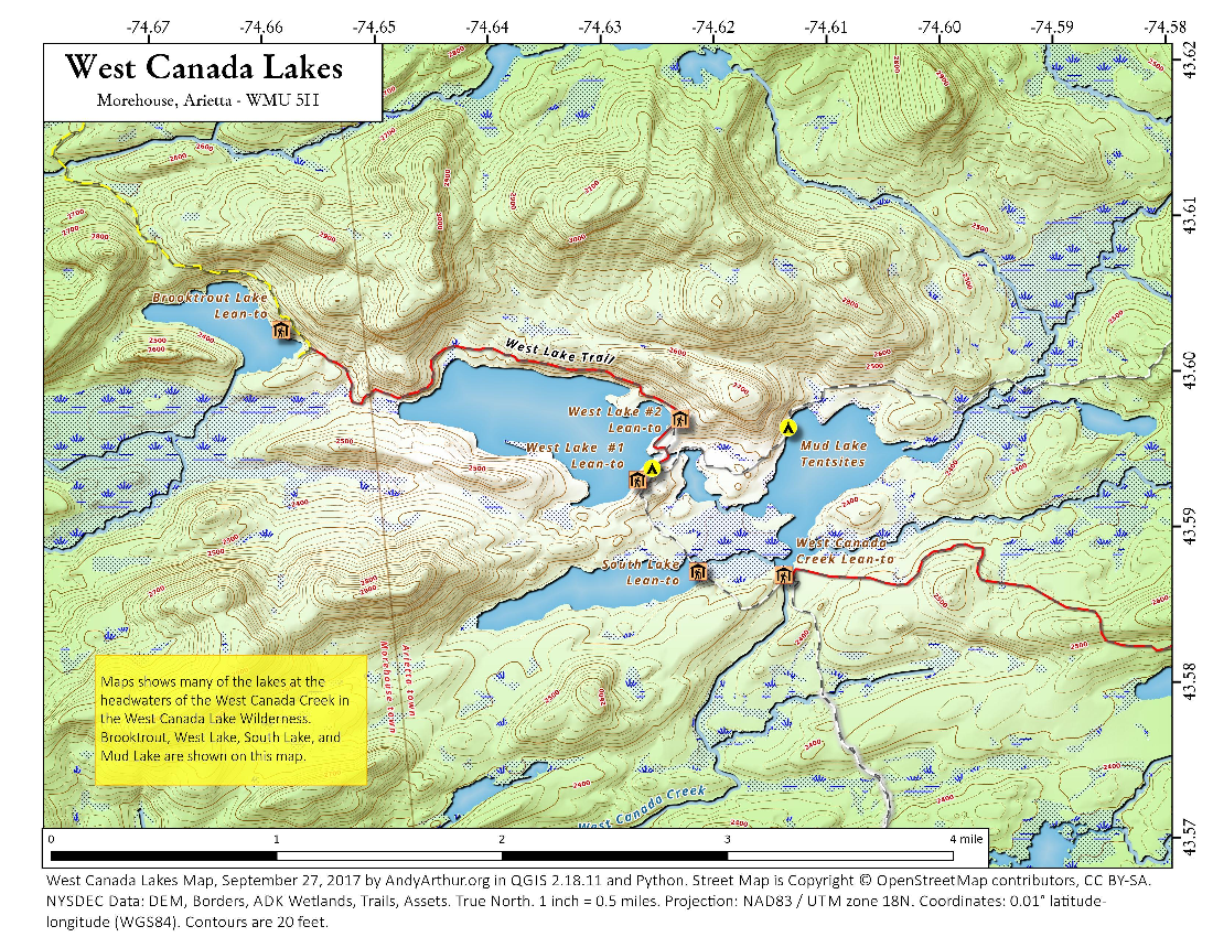 Map: West Canada Lakes – Andy Arthur.org