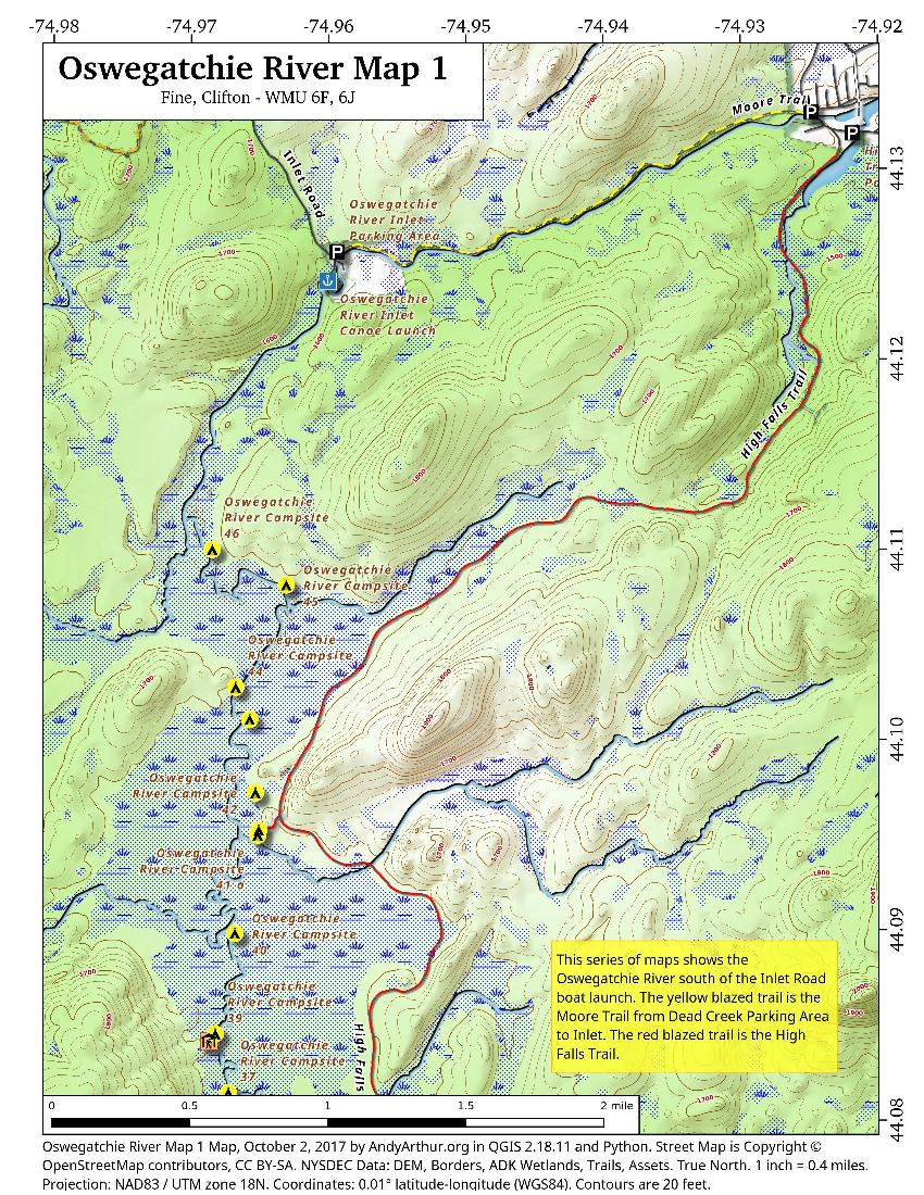 Map: Oswegatchie River Map 1