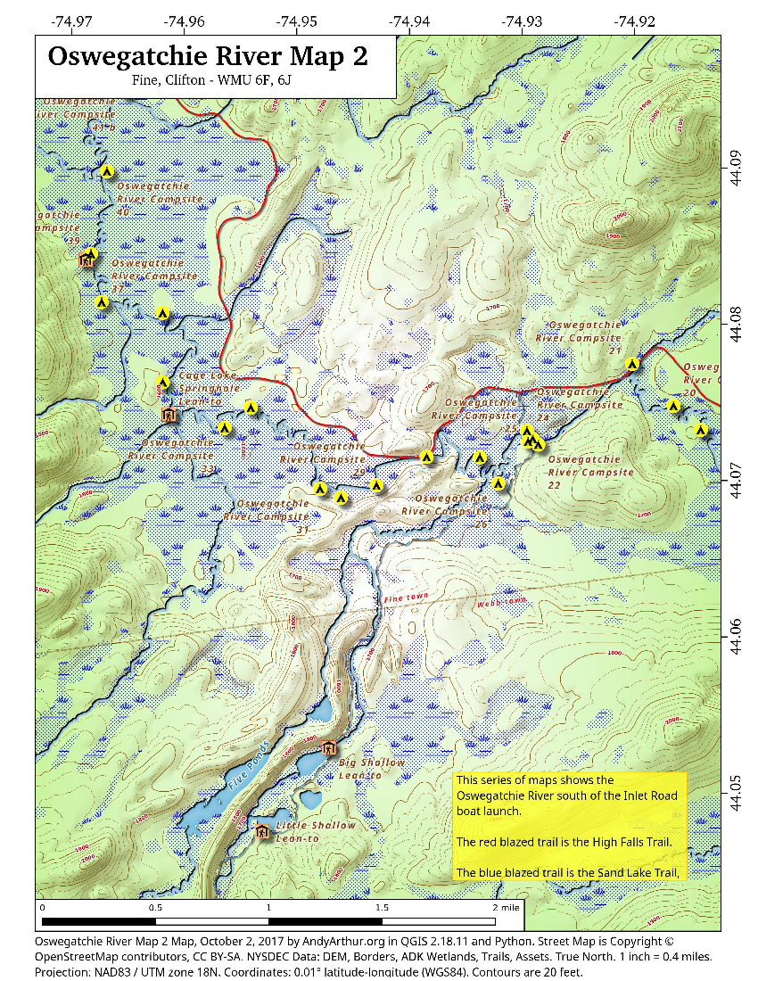 Map: Oswegatchie River Map 2