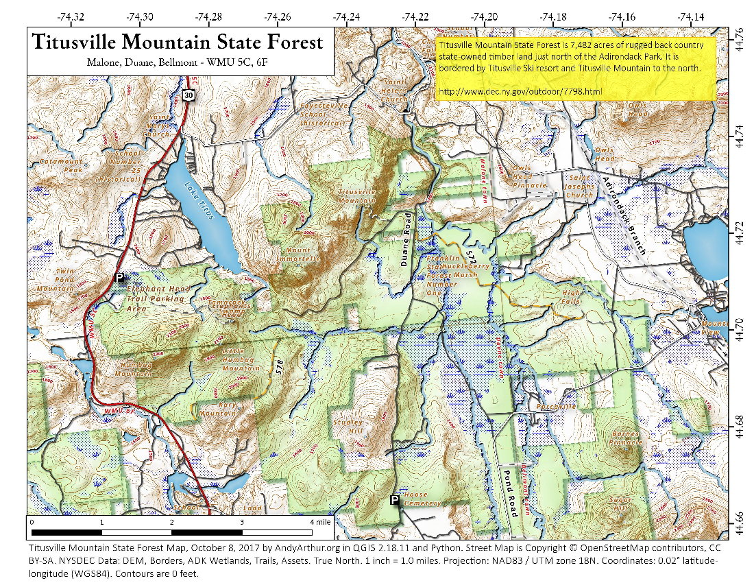 Map: Titusville Mountain State Forest