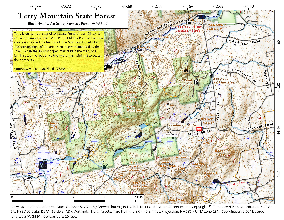 Map: Terry Mountain State Forest