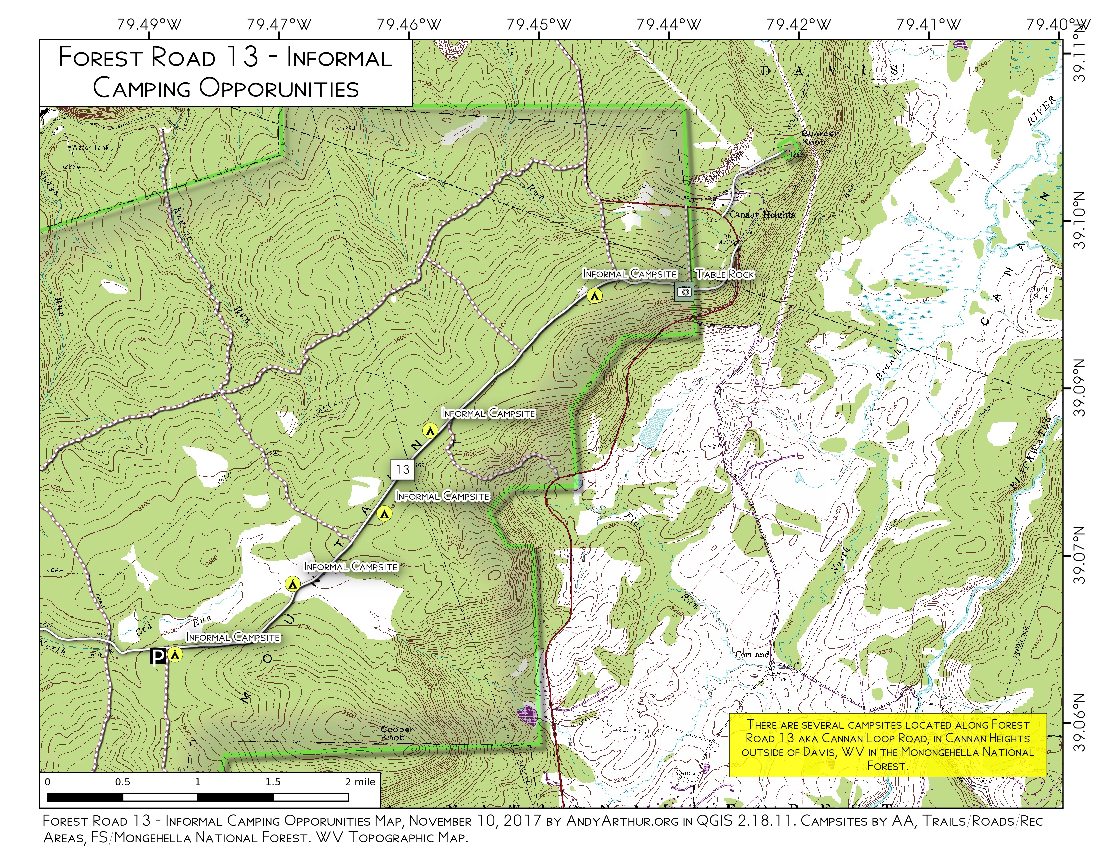 Map: Forest Road 13 Informal Camping Opporunities