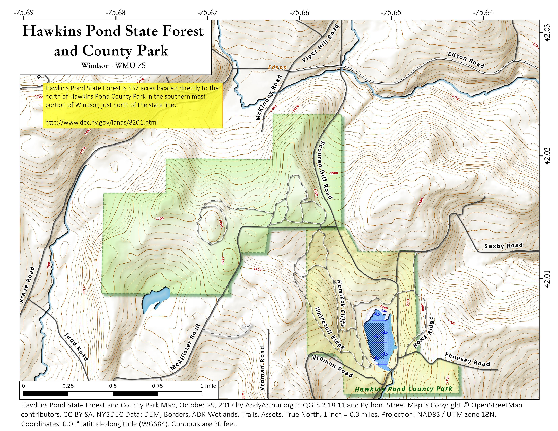 Map: Hawkins Pond State Forest And County Park