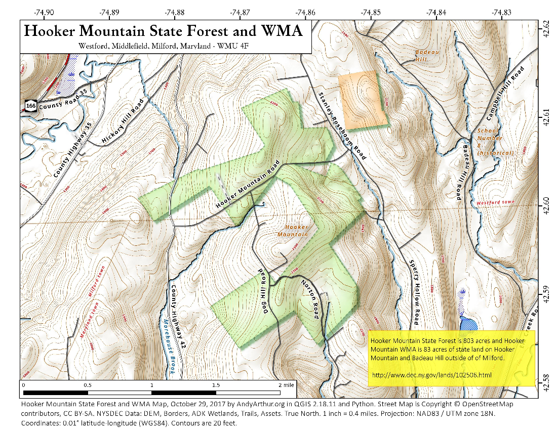 Map: Hooker Mountain State Forest And WMA