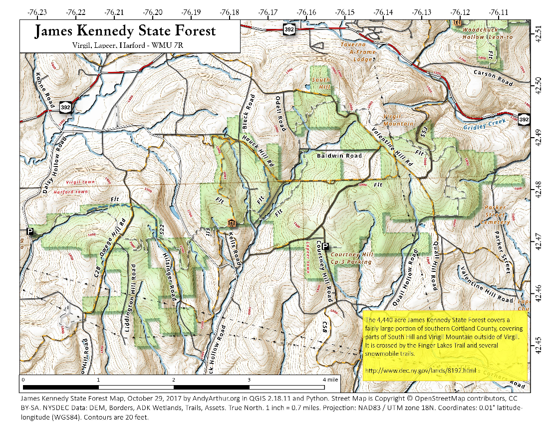 Map: James Kennedy State Forest