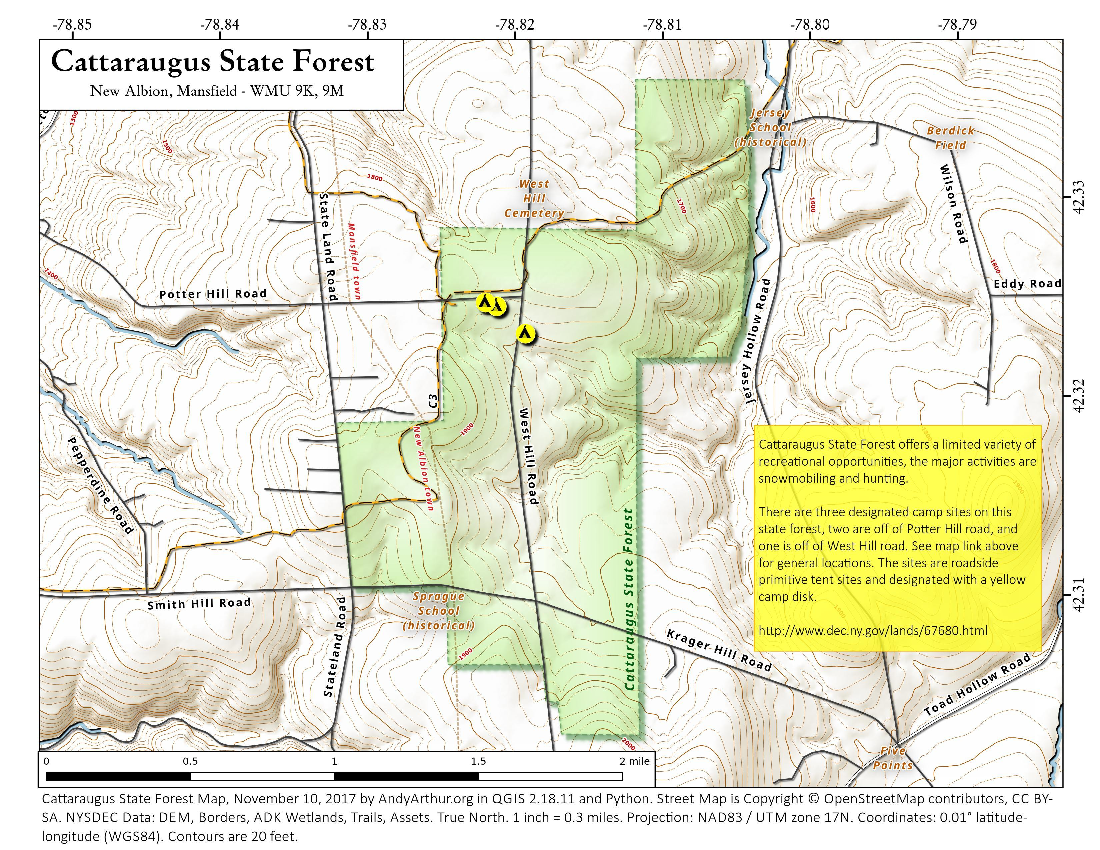 Map: Cattaraugus State Forest