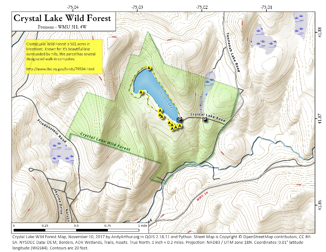 Map: Crystal Lake Wild Forest