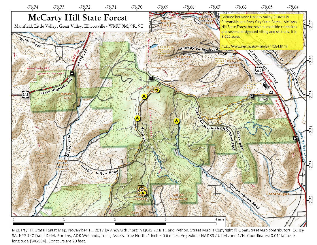 Map: McCarty Hill State Forest