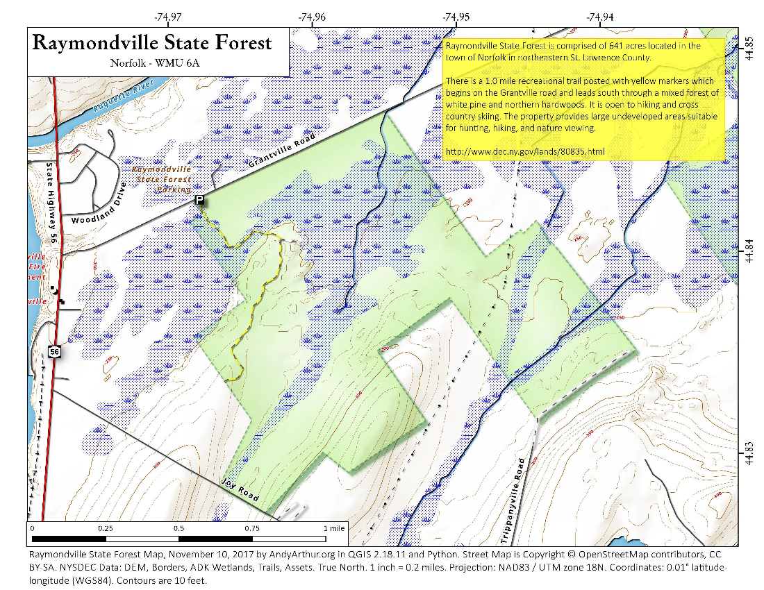 Map: Raymondville State Forest