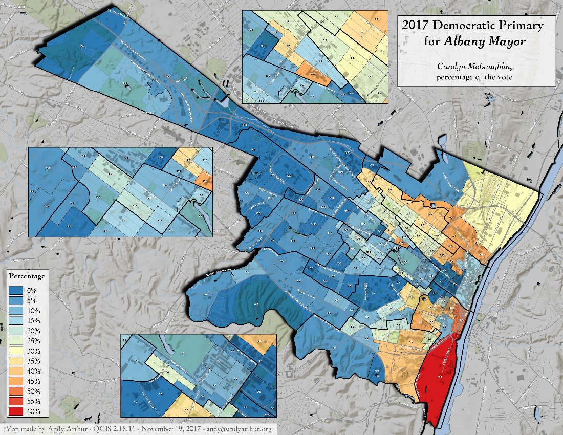 Map: 2017 Albany Mayorial Primary – Carolyn McLaughlin, Percentage Of The Vote