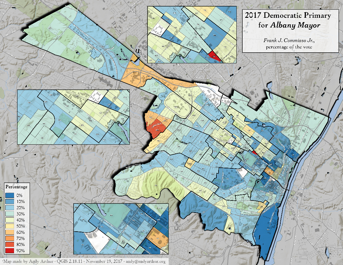 Map: 2017 Albany Mayorial Primary – Frank J. Commisso Jr., Percentage Of The Vote