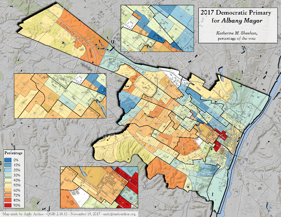 Map: 2017 Albany Mayorial Primary – Kathy Sheehan, Percentage Of The Vote