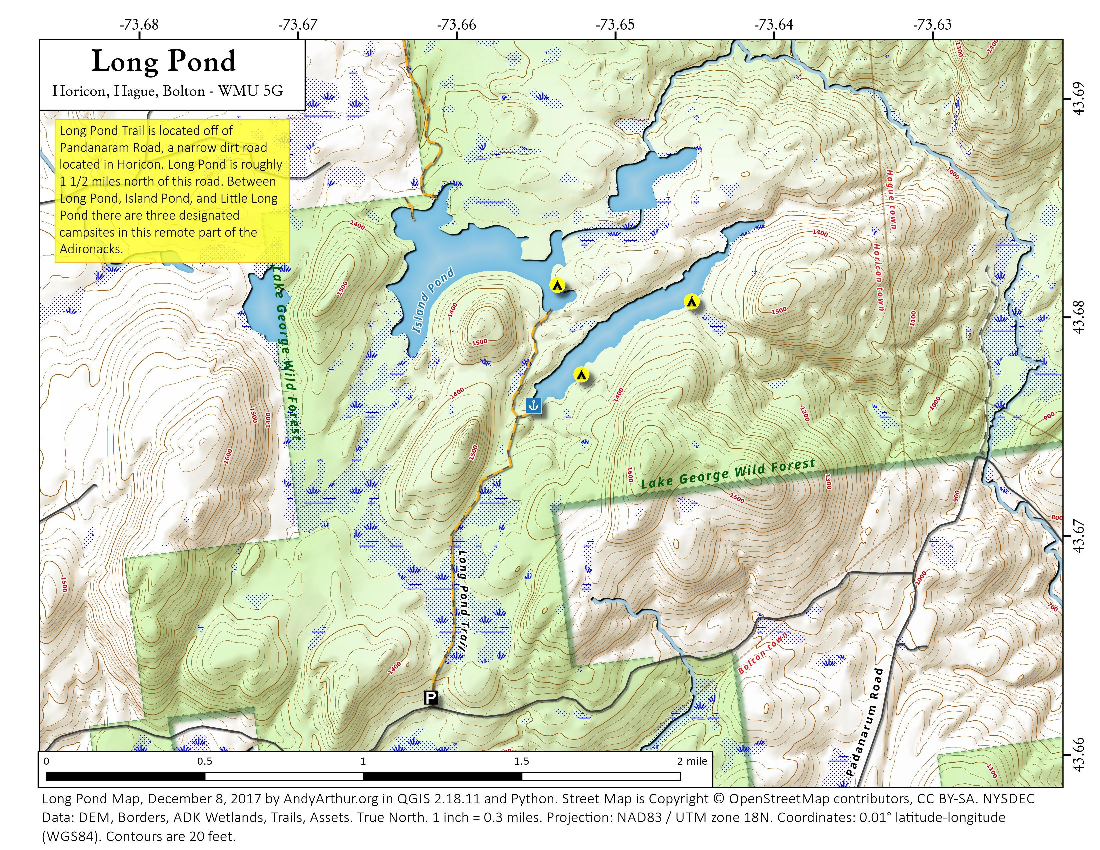 Map: Long Pond and Island Pond
