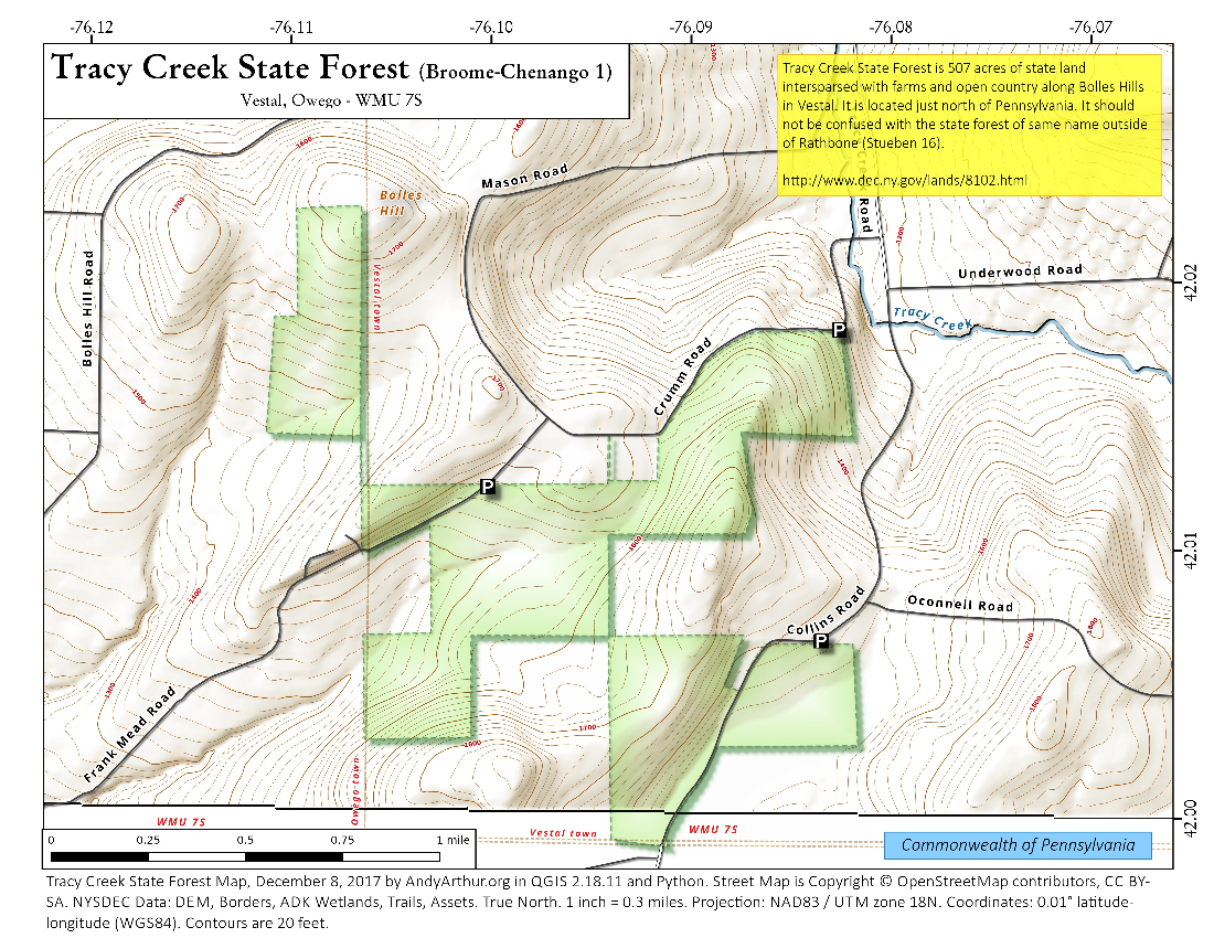 Map: Tracy Creek State Forest (Broome-Chenango 1)