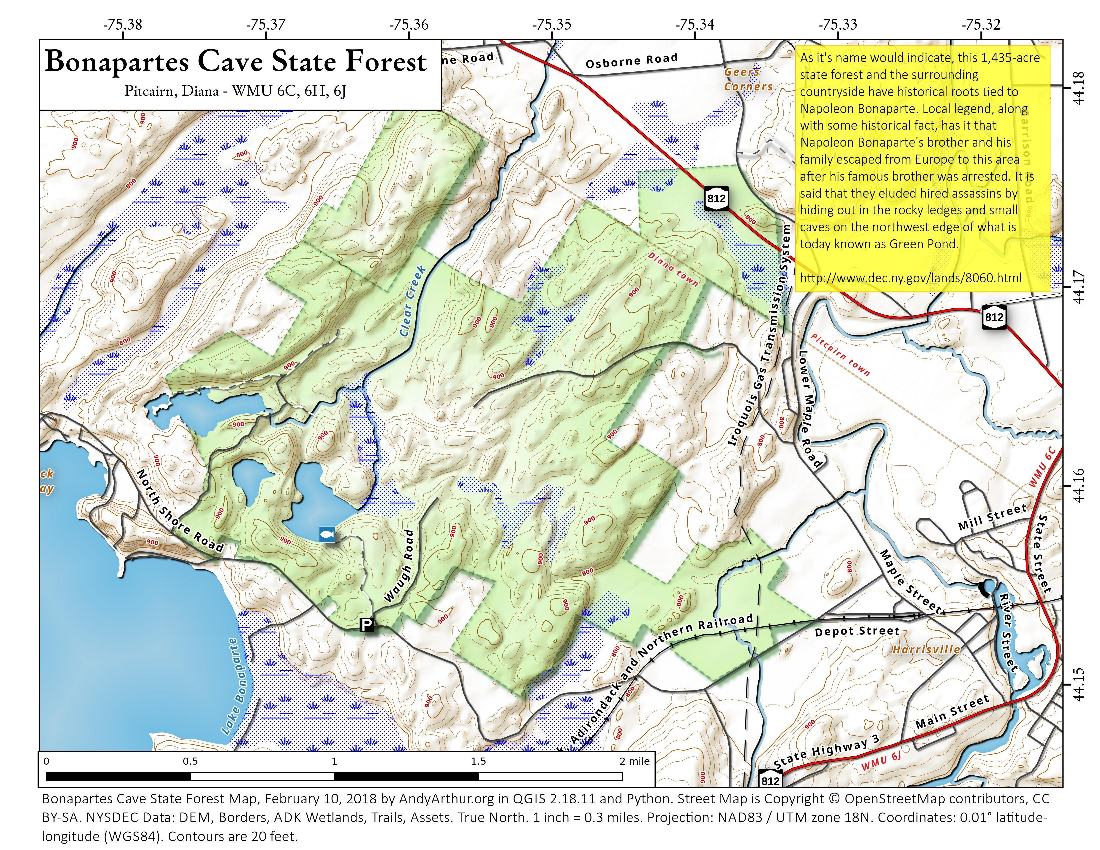 Map: Bonaparte's Cave State Forest