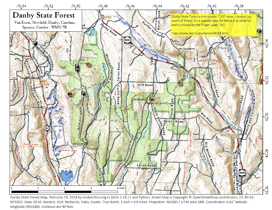 Map: Danby State Forest