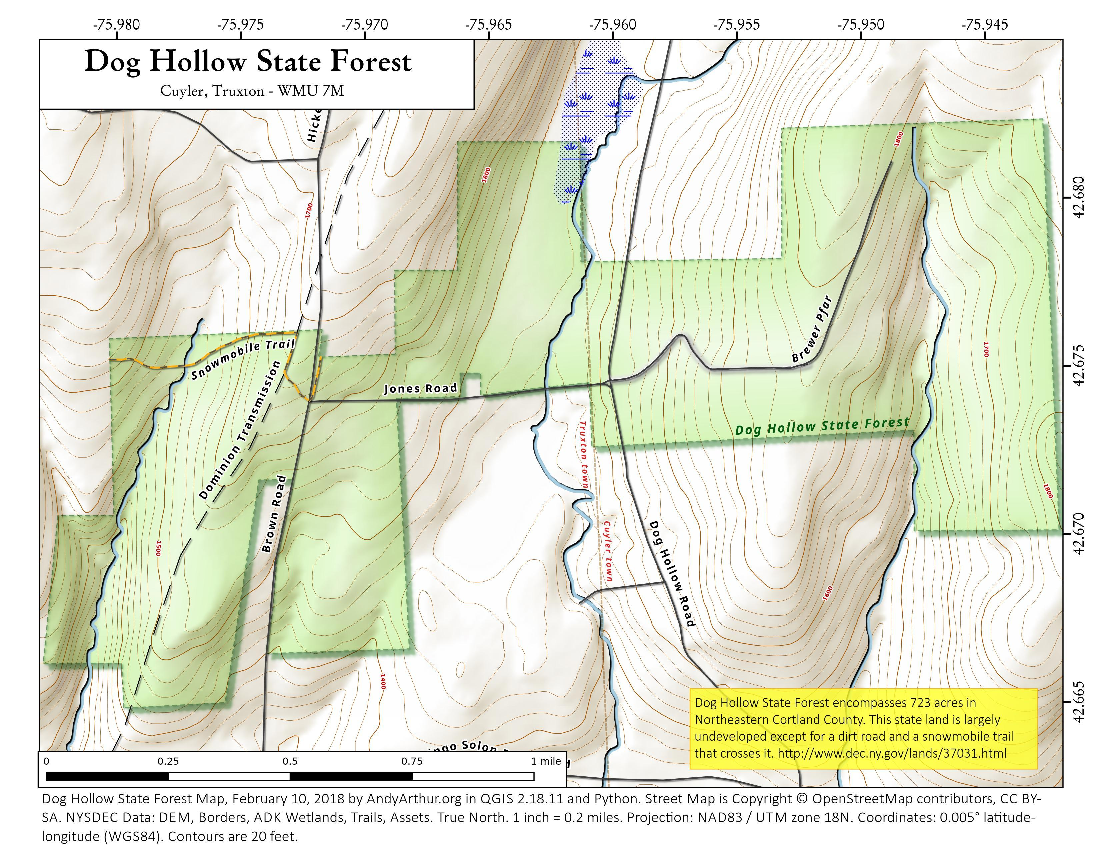 Map: Dog Hollow State Forest
