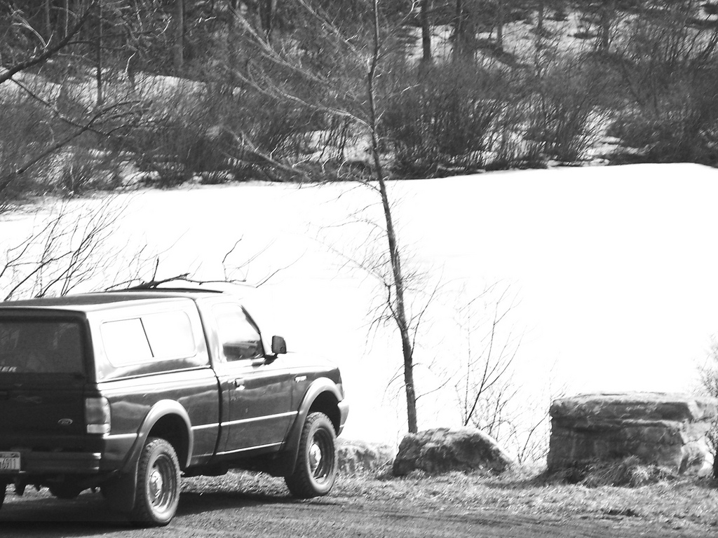 Photo: My Old Truck Looking Down on the Ice Covered Fawn Lake