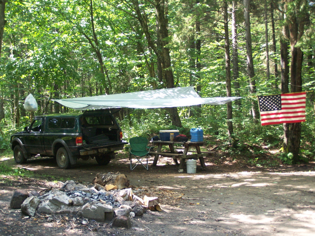 In This Picture The Tarp Is Held Up Entirely By Trees And Long Bungee Cords When I Was Camping At Moose River Plains Down Otter Brook