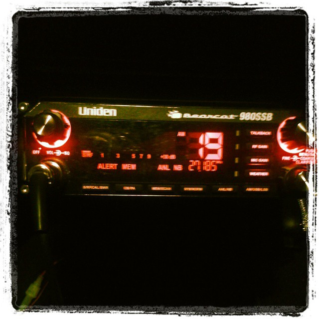 Photo: In an effort to celebrate Christmas, I turned my CB radio to red in my truck.