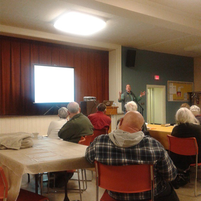 Photo: Neil Gifford speaks to Save the Pine Bush