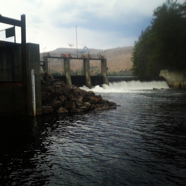 Photo: Trying my luck under the dam