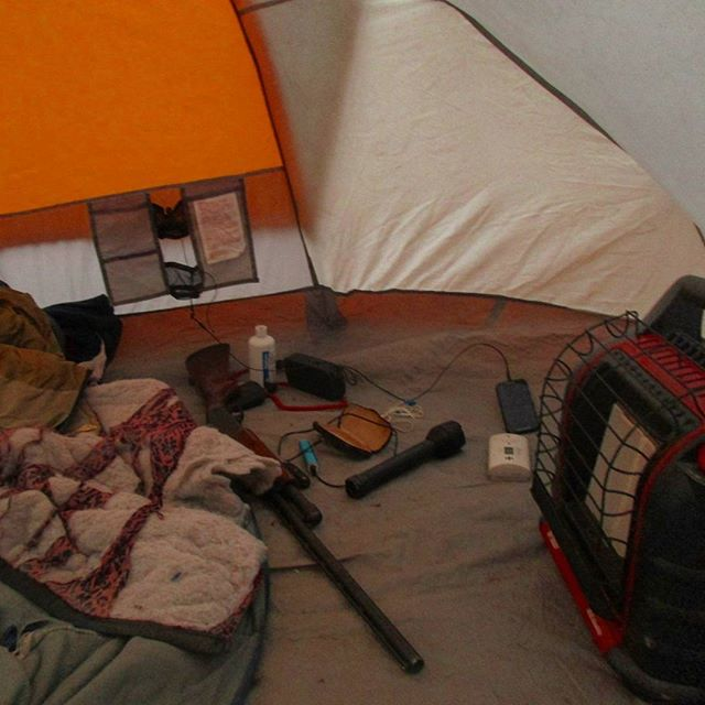 Photo: Inside the heated tent