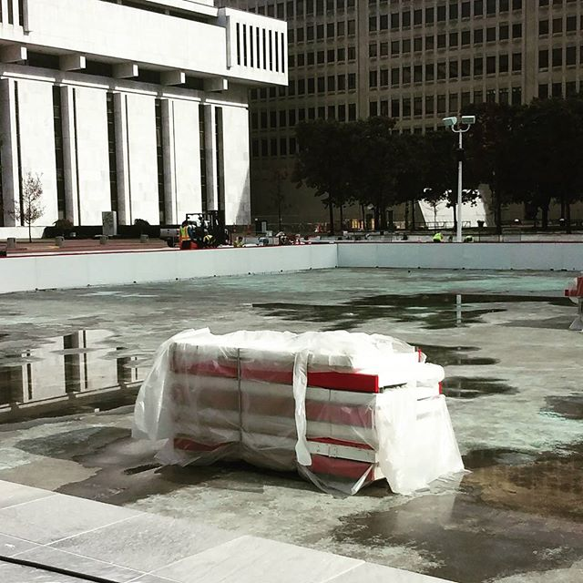 Photo: Setting up the ice rink #winter #iceskating