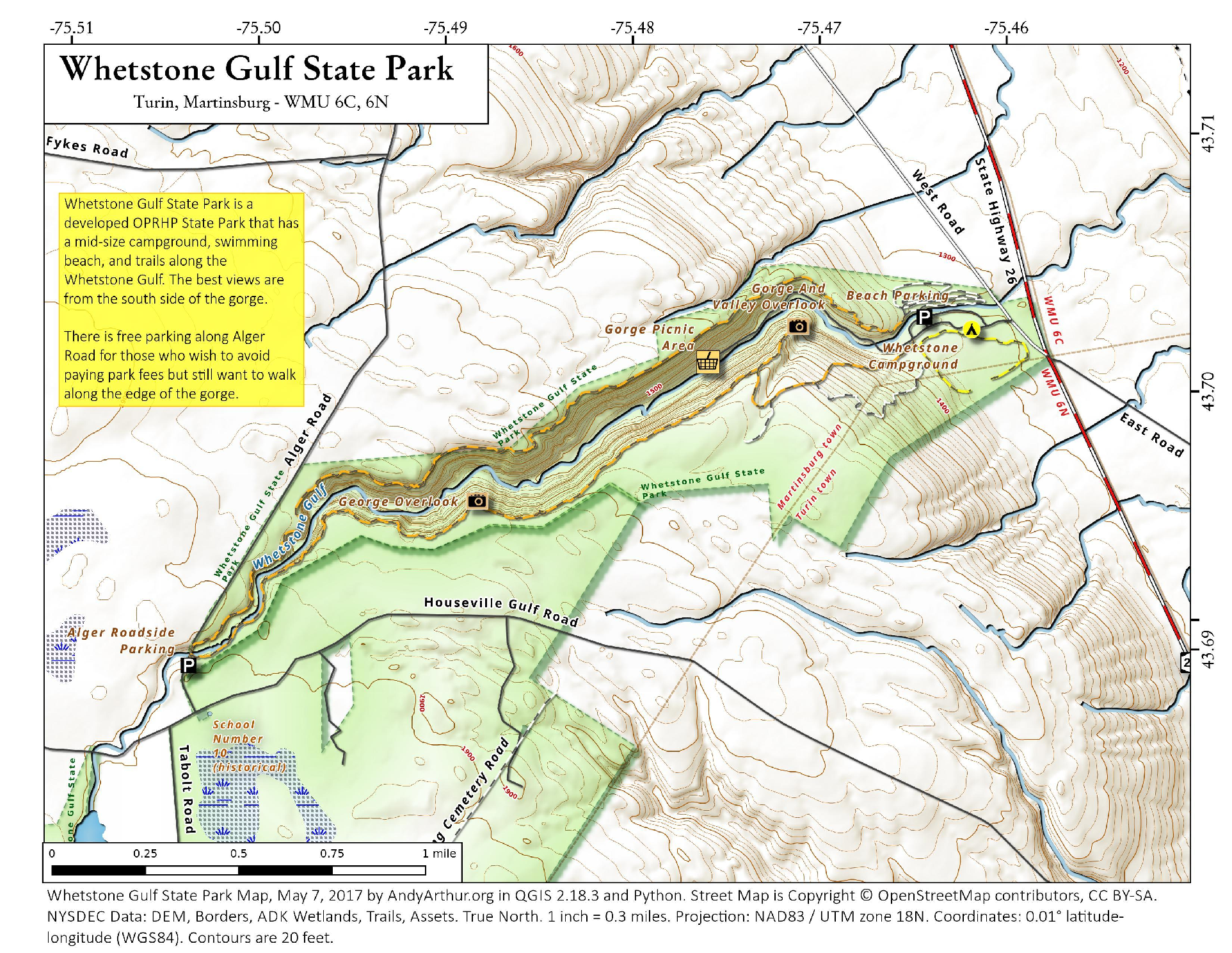 Map: Whetstone Gulf State Park – Andy Arthur.org