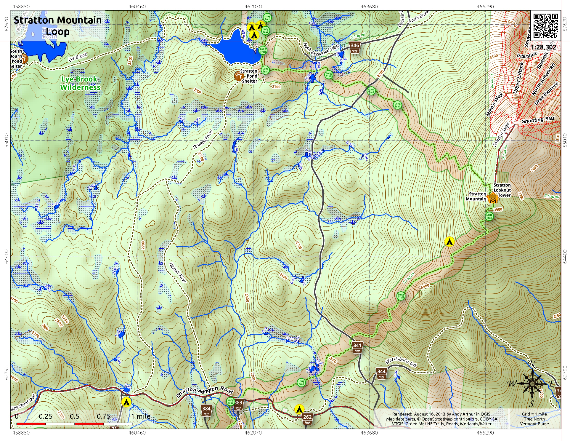 . map stratton mountain loop – andy arthurorg