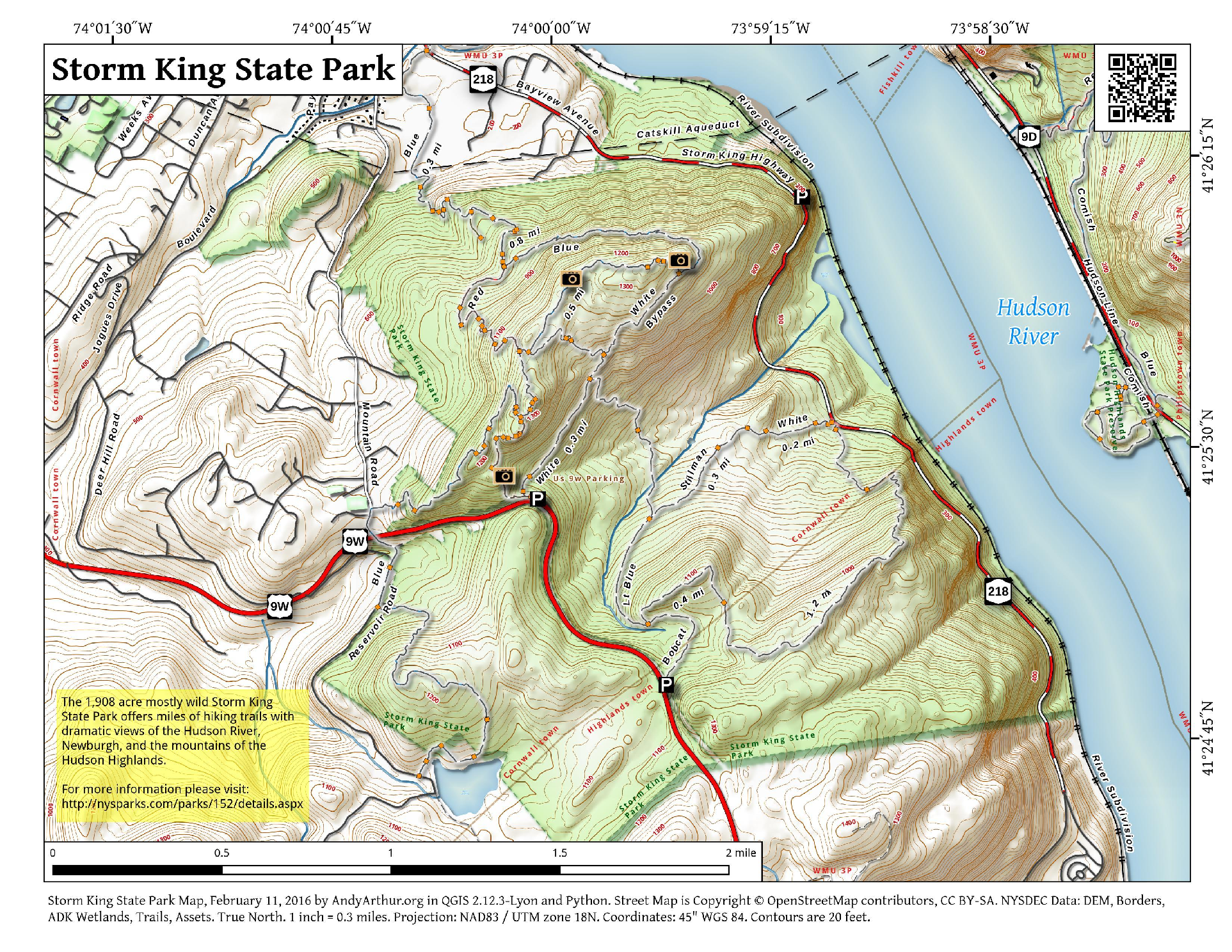 Map Storm King State Park  Andy Arthurorg
