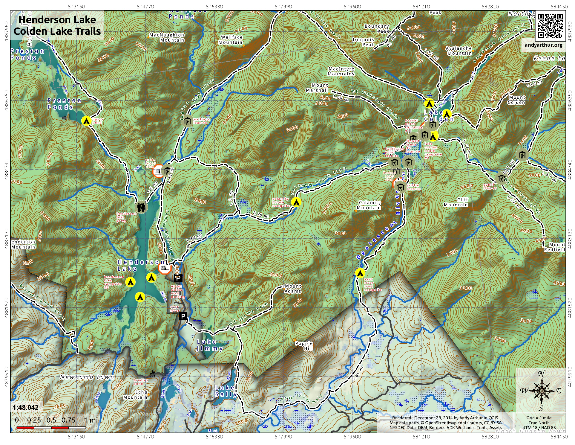 Map Henderson Lake And Colden Lake Trails Andy Arthurorg