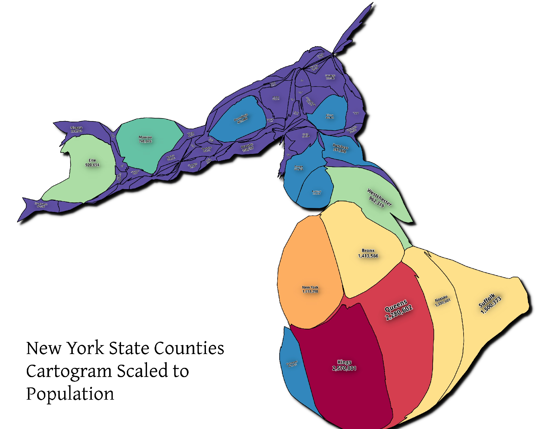Map NYS Counties Population Cartogram Andy Arthurorg - Us county population map cartogram