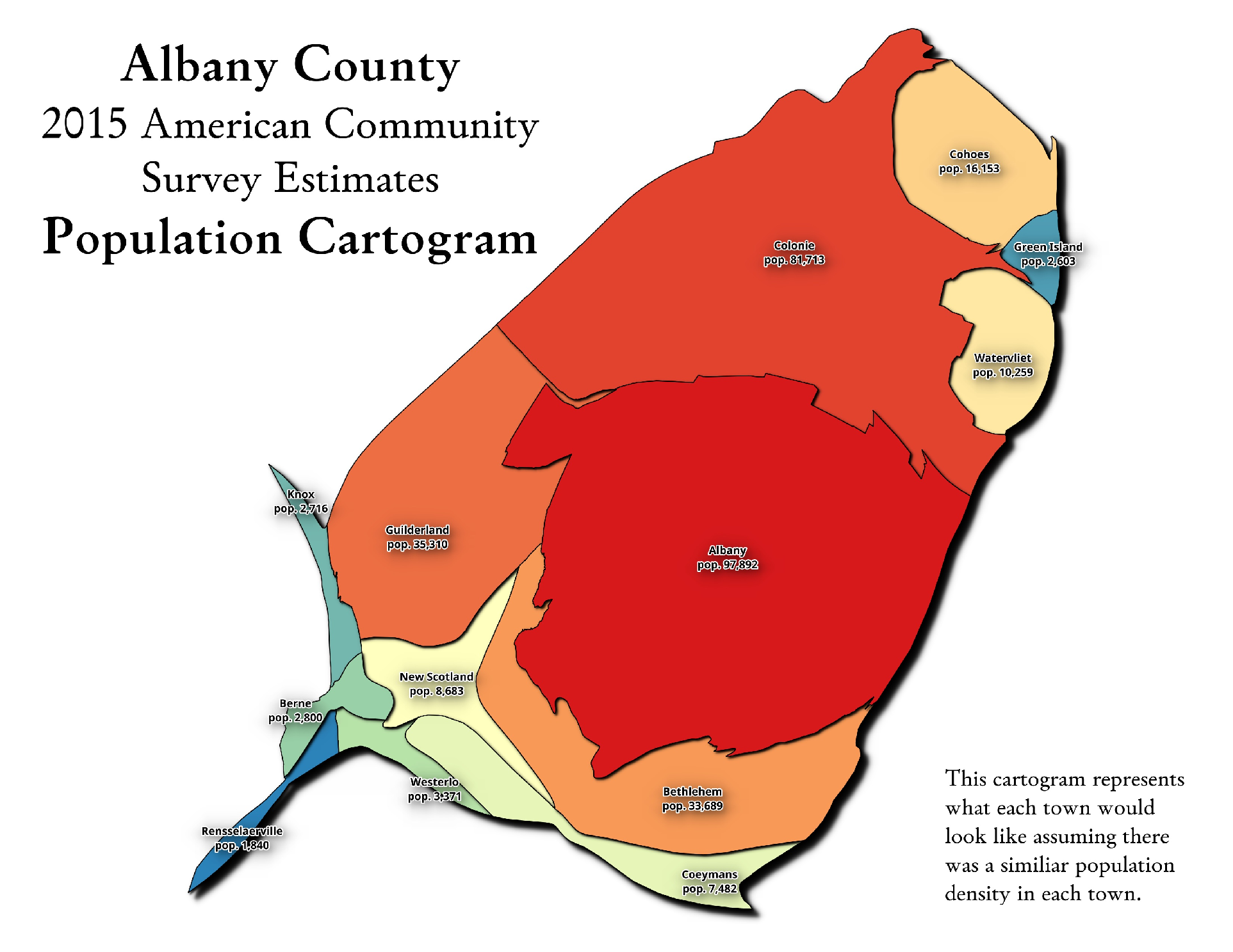 Map Albany County Population Cartogram Andy Arthurorg - Us county population map cartogram