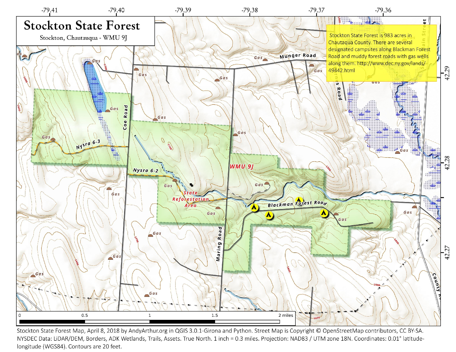 Map Stockton State Forest Andy Arthurorg