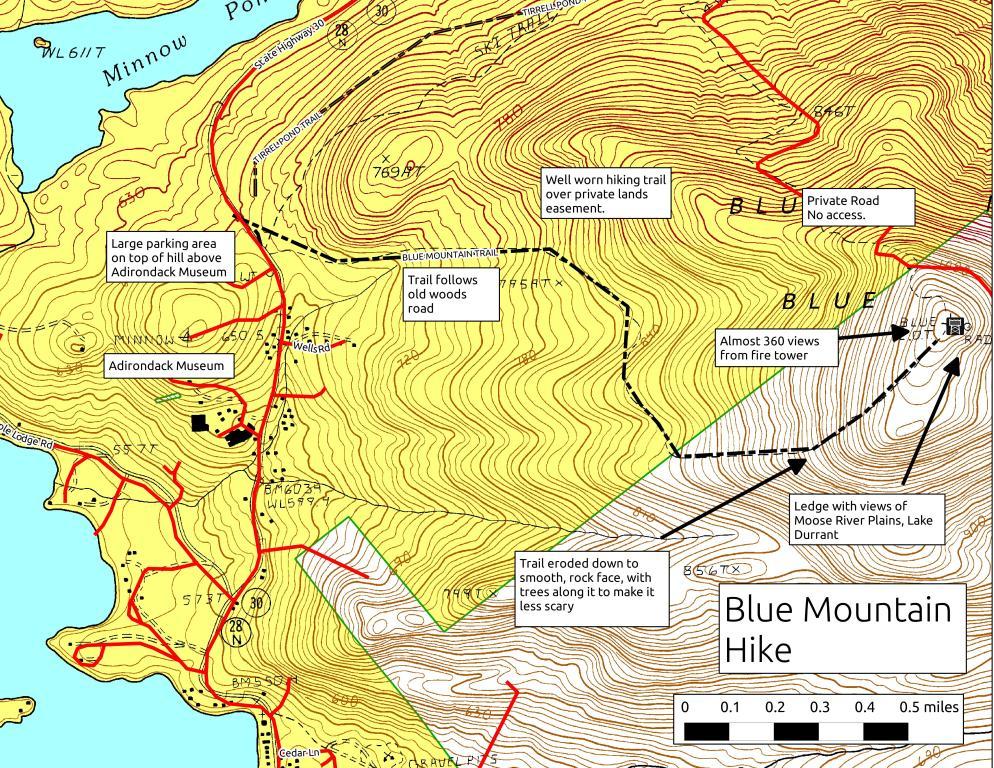 blue mountain lake ny map Map Blue Mountain Hike Andy Arthur Org blue mountain lake ny map