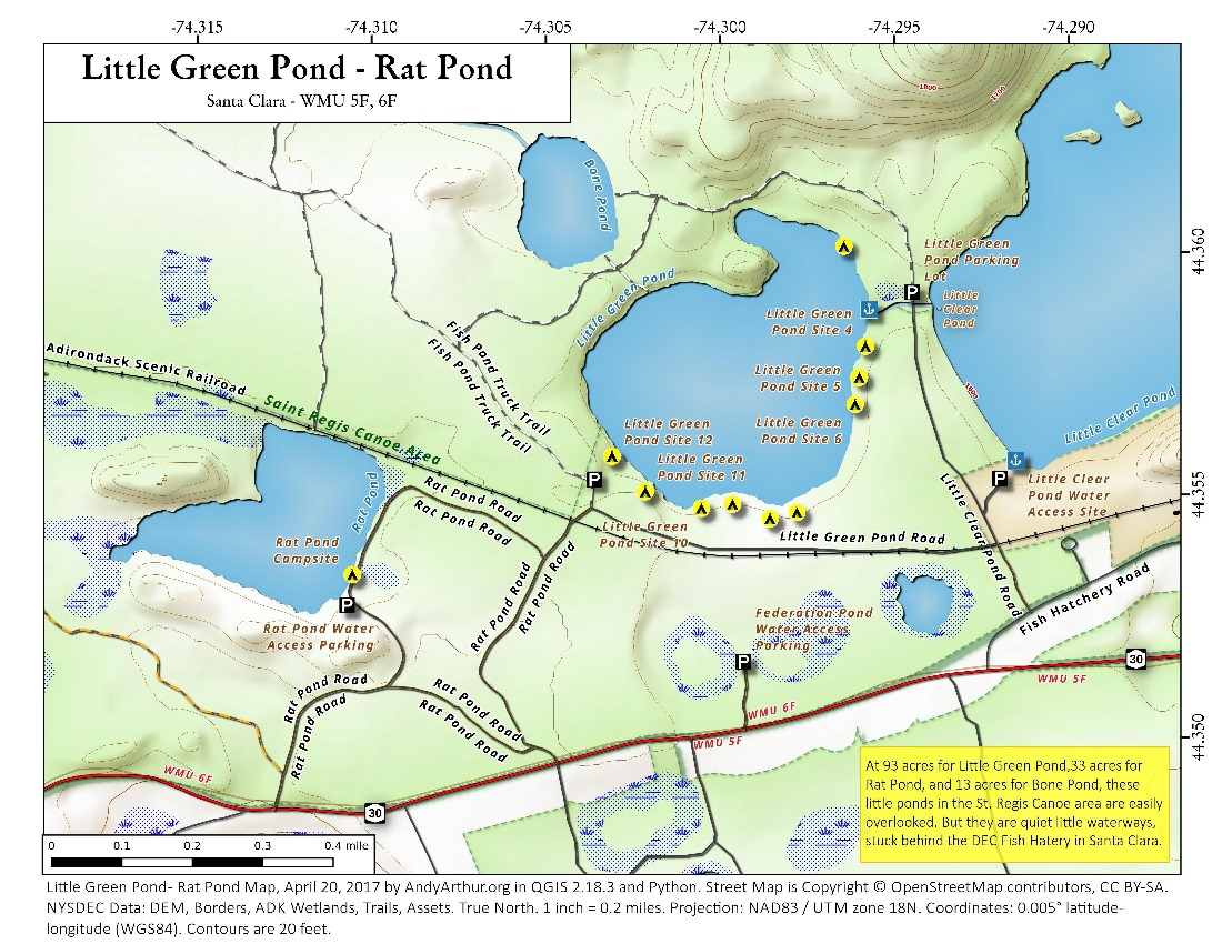 little green lake map Map Little Green Pond Rat Pond Andy Arthur Org little green lake map