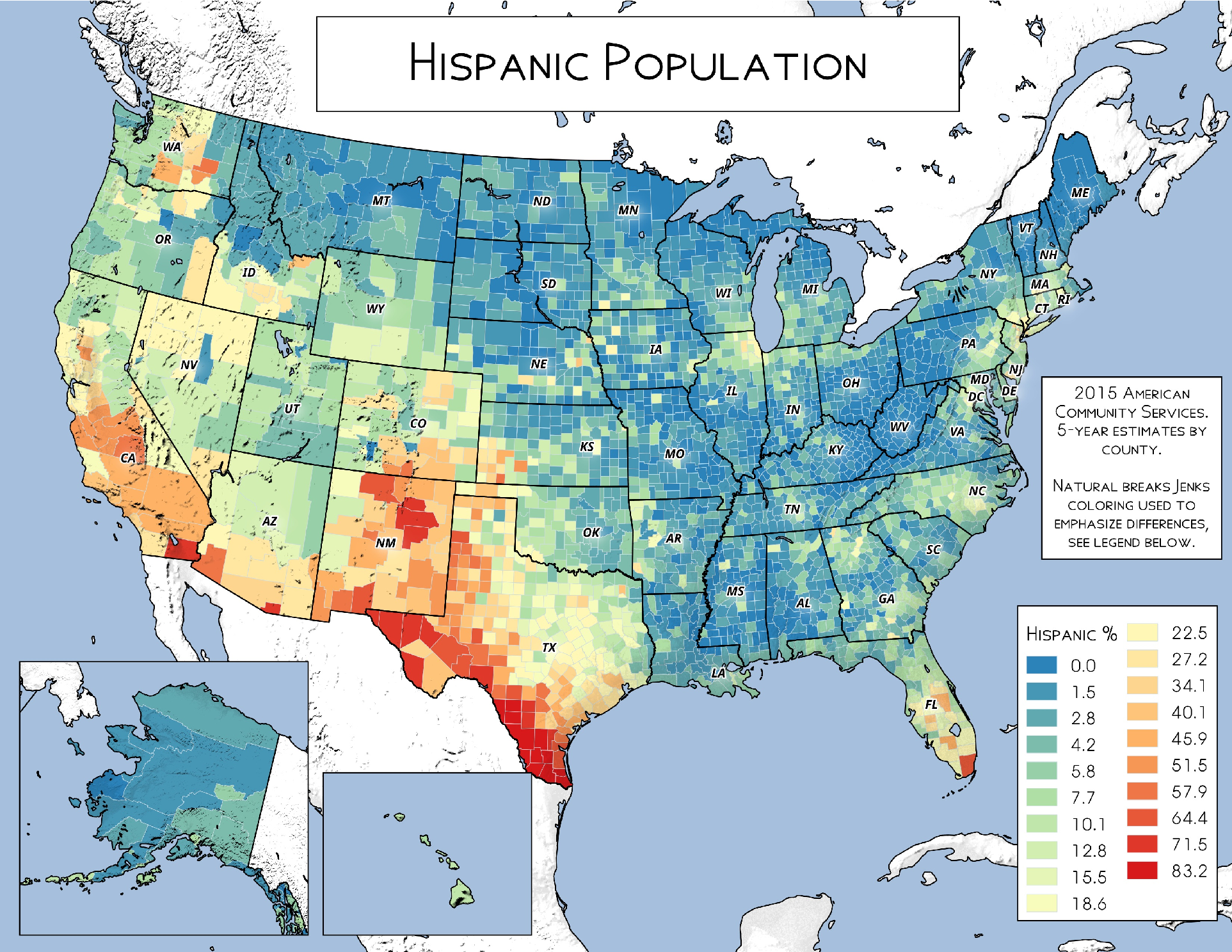 Map Of America By Population.Map Hispanic Population In America Andy Arthur Org