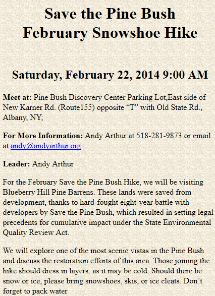 Save the Pine Bush Hike on Saturday, 9 AM